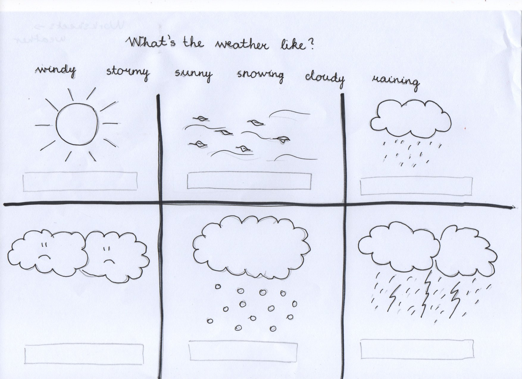 ESL worksheets Pre-school - Weather | MissTeslESL Worksheets - Weather ...